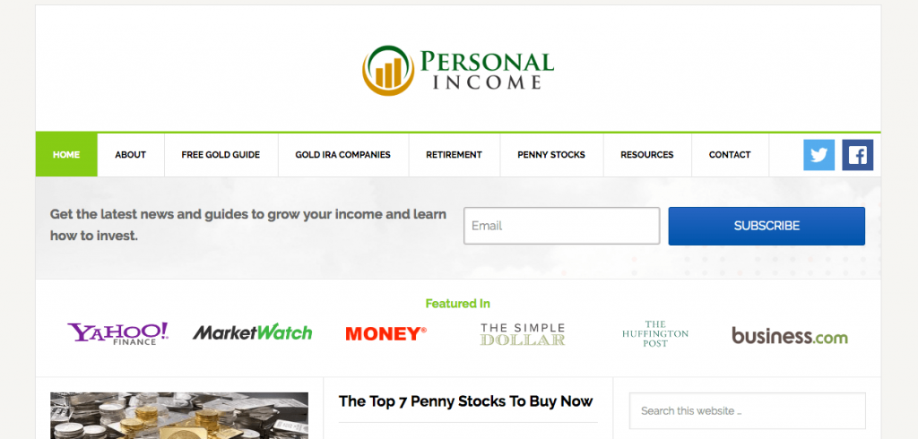 Personal Income homepage